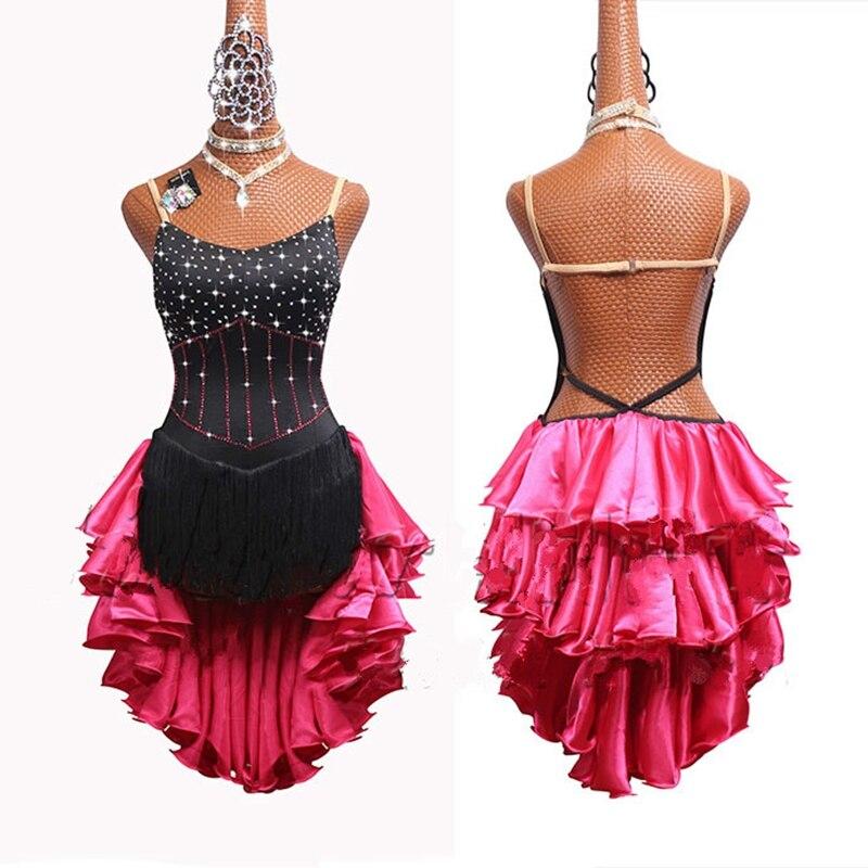 Rhinestones Women Latin Dance Dress with Accessories Tassel Skirt Salsa Samba Rumba India Ladies Fringe Latin