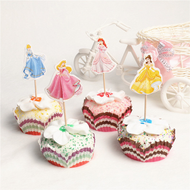 24pcs Lot 4 Designs Cinderella Princess Cupcake Toppers Picks Girl Birthday Party Decorations Evnent Favors