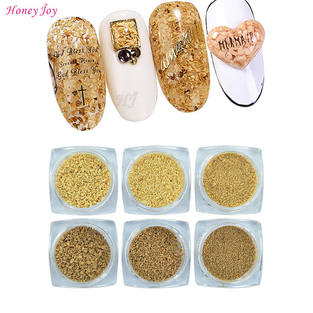US $2 84 5% OFF|Aliexpress com : Buy 6 pots/pack Natural Sawdust Powder 3D  Nail Art Design Yellow Brown Dust Powder Grain from Reliable Nail Glitter