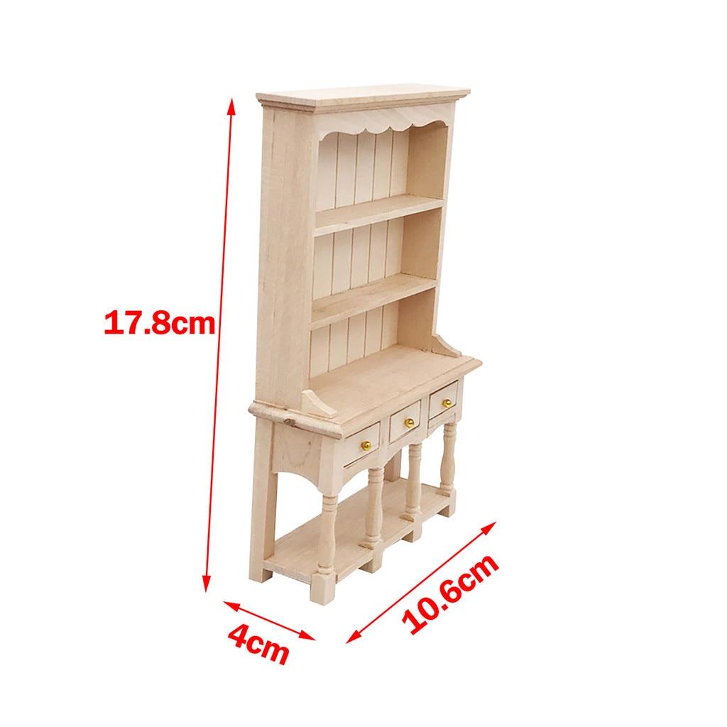 1 12 Mini Dollhouse Bookcase Wooden Furniture Cabinet