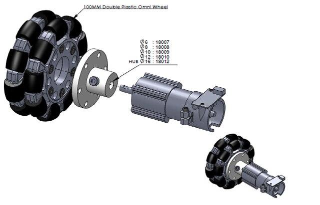 Roue omnidirectionnelle 100mm roue omnidirectionnelle 4 pouces avec couplage de moyeu en métal en option roue omnidirectionnelle Robocup/Robocon