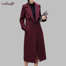 S-XXL Plus Size Women Wool Coat Autumn Winter New Fashion Ladies Slim Turn-down Collar Single Button Long Coats Black/Wine Red