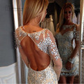 Vestido de Festa Curto Champagne Crystal Cocktail Party Dresses 2016 Backless Long Sleeve Club Dress Crystal Robe de Cocktail