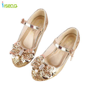 Girl princess leather shoes children girls dancing shoes wedding and party shoes cut-outs kids glitter high heel shoes 5-13years