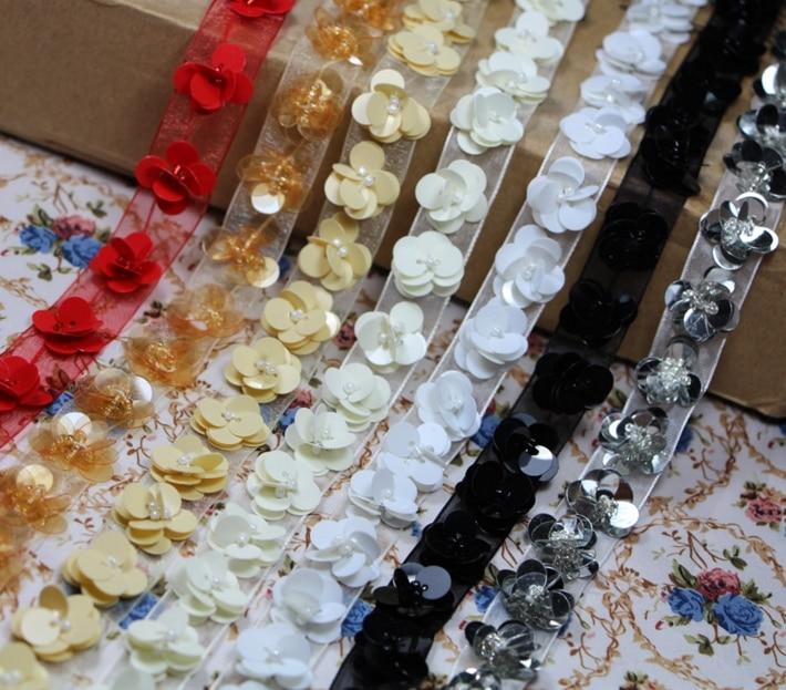 3 yardas/lote negro 1,5 cm flor lentejuelas Organza cuentas encaje ajuste Diy hecho a mano accesorios de la ropa de la tela del Collar de la acidez YN001