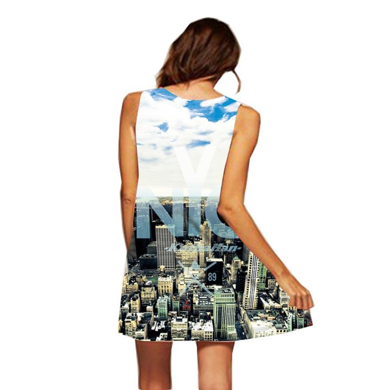 Headbook New Fashion Women Summer Mini Dress 3d Print New York City Sleepwear Loose Off Shoulder Dresses Party Dress YXD15