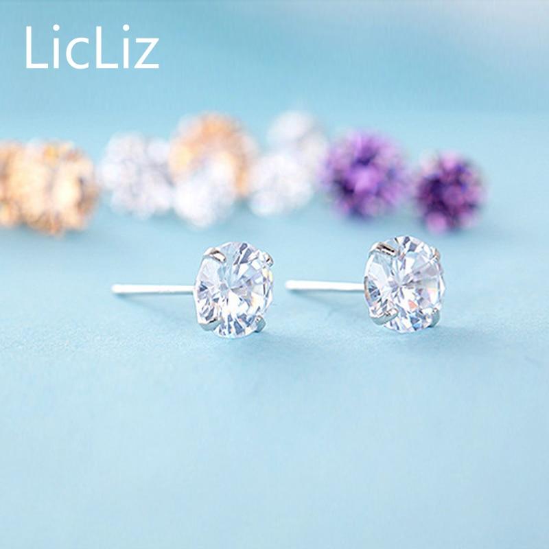 LicLiz-100-925-Sterling-Silver-CZ-Stud-Earrings-For-Women-Jewelry-Simple-Cubic-Zircon-Ear-Piercing-Post-Earrings-Classic-LE0285-4