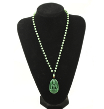Natural green stone hand - carved Guanyin pendants men and women fashion necklace pendant jewelry gifts. natural green hand carved chinese hetian stone guanyin pendant rope necklace