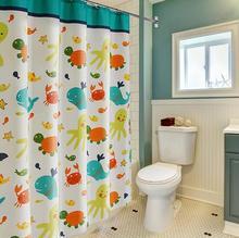 Multiples Taille Mignon poissons de Bande Dessinée et tortue coloré Conception Salle De Bains Rideaux De Douche avec Crochets étanche revêtement rideaux.