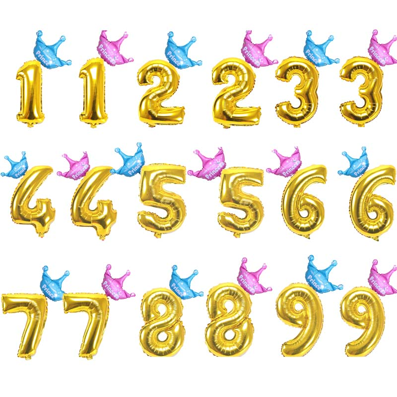 Gold Number Birthday Balloons 1 2 3 4 5 6 7 8 9 10 Years Old Kids Boy Girl Decorations Banners Foil Balloon Anniversary