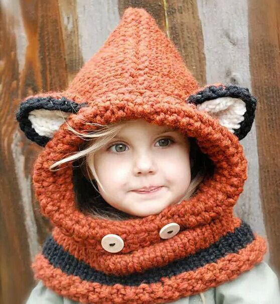 1 Pcs 2015 New lovely Fox Children Skullies Hat And Scarf Autumn Winter Keep Warm Knitted Cap Beanies Orange Free Shipping skullies