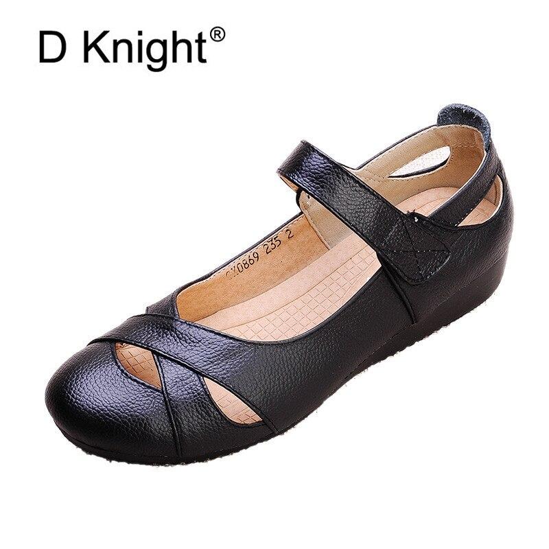 2018 Été Chaussures Femmes En Cuir Véritable Plat Sandales Confortable Doux Creux Trou Casual Mary Janes Ethnique Femmes de Chaussures Sandales
