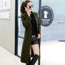 Ms Long section Knee Self-cultivation Was thin suit collar Woolen jacket