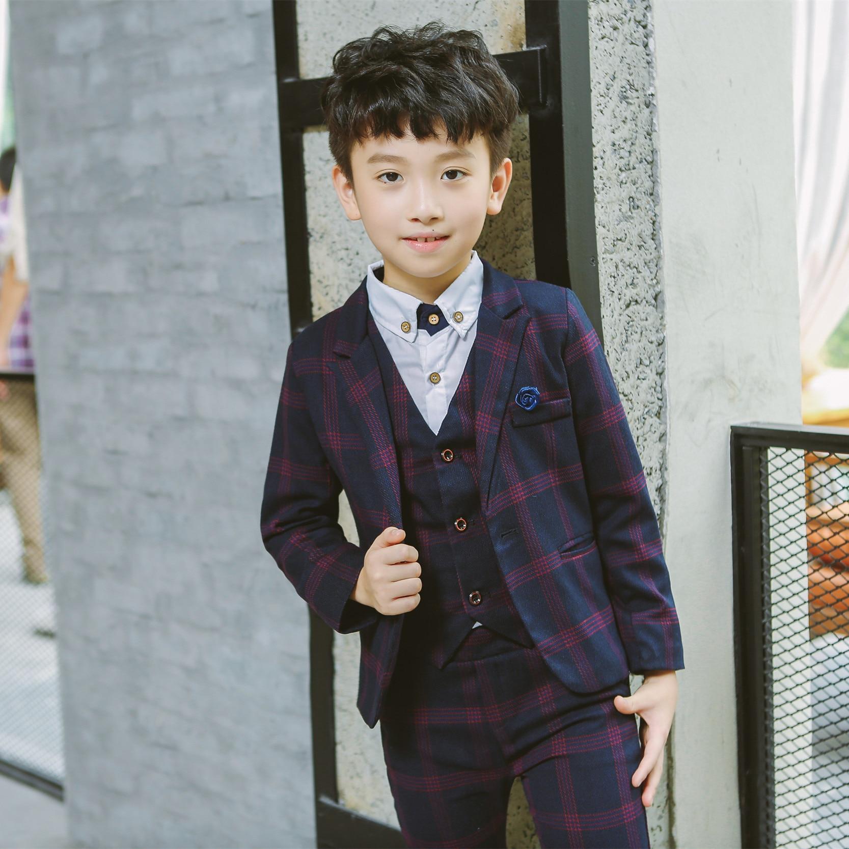 88cb564a3 Boy Tuxedo Kid Formal Suits Boy Blazer Suit Set Children Blazer Jacket Pants  and Vest Plaid Classic Suit for Boy Wedding Suit