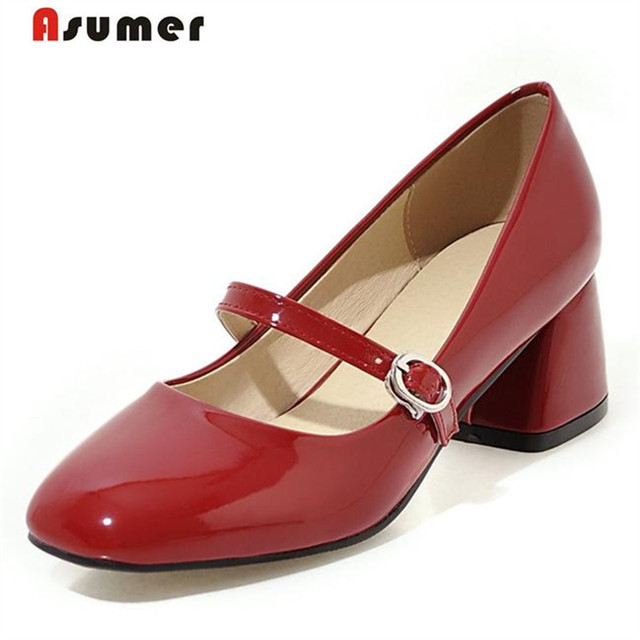 Asumer 2017 Mary janes shoes women patent leather pumps retro fashion high heels big size 33-43 shallow four seasons shoes