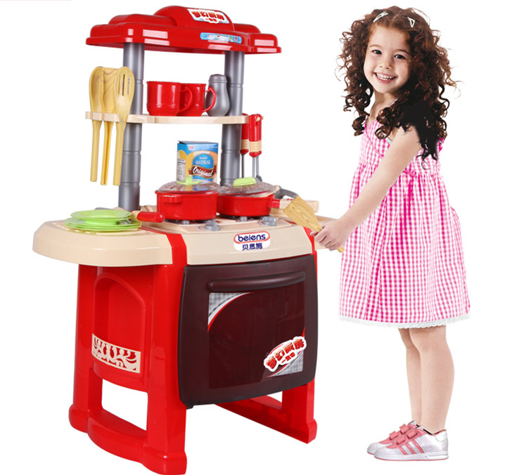 Baby Toys Child Furniture Set Simulation Kitchen Toy Educational Plastic Toy Food Set Assemble Play House Baby Birthday Gift new arrival without original box house kitchen cart barbecue kitchen cart simulation role playing best early education toys