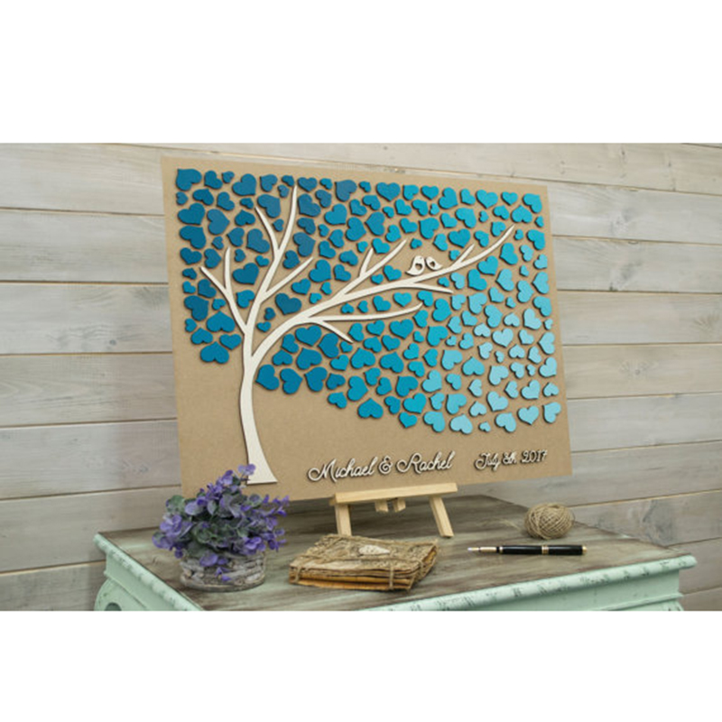 Custom Colors Wedding Guest Book 3D Alternative Tree Wood