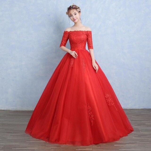 Gunstige New Design Rot Weiss Boot Ausschnitt Brautkleider