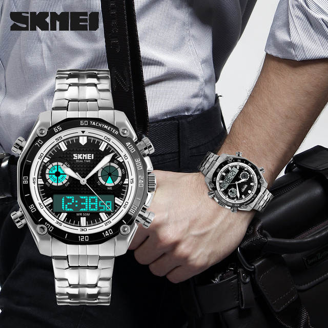 Hombres Deportes Relojes Dual Display Analógico Digital LED Electrónico Impermeable Reloj Militar relojes de Cuarzo Relojes de pulsera de Acero Completo
