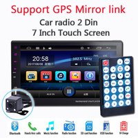 9 Languages 7 Touch Screen New 2 Din Car Radio Bluetooth Hands Free FM TF USB