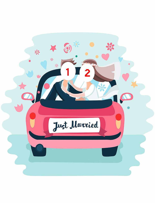 druckvorlage just married auto vorlage zum ausdrucken