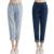 2016 Nova Moda de Algodão Branqueada Jeans Loose Women Cintura Do Vintage Lavado Calças Jeans Longo Stright