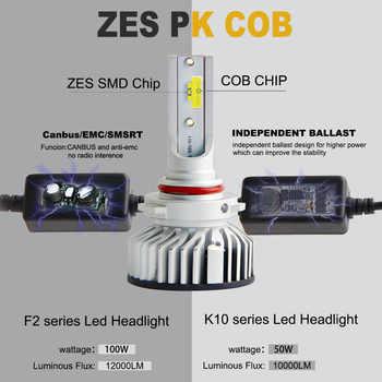 2Pcs H4 H7 LED Car Lights 9005 H1 H3 HB1 HB3 9006 9007 880 Car Led Headlight Lamp Bulb Fog Light 100W 12000LM 6000K ZES Lights