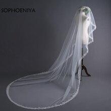 Новое поступление, Длинная свадебная вуаль цвета слоновой кости,, кружевная кромка, свадебная вуаль Velo de novia, свадебные аксессуары, sluier schleier