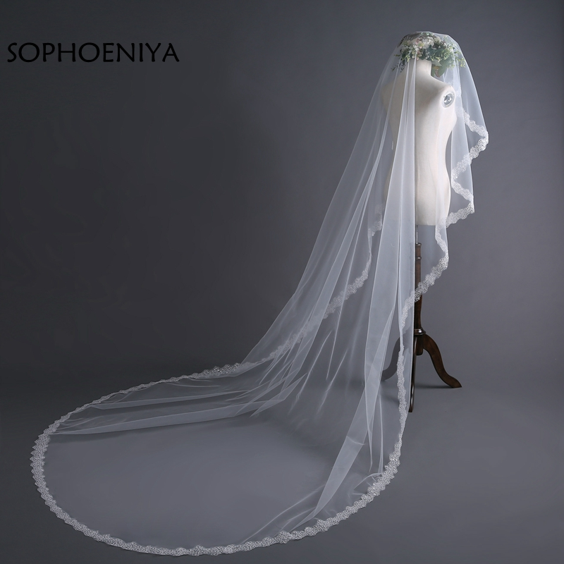 New Arrival Ivory Long Bridal Veil 2020 Lace Edge Wedding Veils Velo De Novia Voile Mariage Wedding Accessories Sluier Schleier