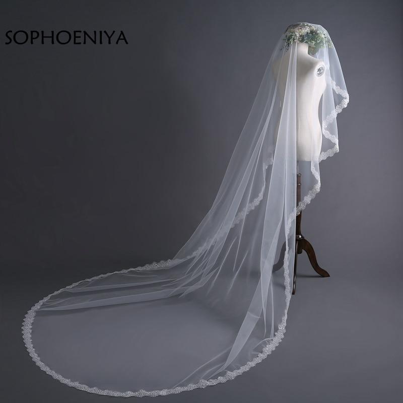New Arrival Ivory Long Bridal Veil 2020 Lace Edge Wedding Veils Velo De Novia Voile Mariage Wedding Accessories Sluier Schleier