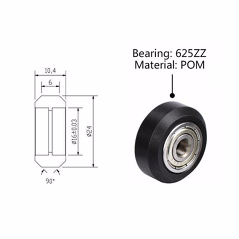 CasterHQ 4 X 2 V Groove Wheel 600 lbs Capacity Replacement Wheel Commercial//Industrial Application Includes 3//4 Roller Bearing with 1//2 ID Spanner Bushing Bore 1//2