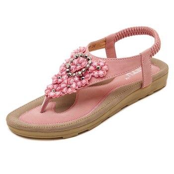 Women Sandals Bohemia Flat Sandals Shoes Woman String Bead Flip Flop  Beach Sandals Casual Shoes Female Flats