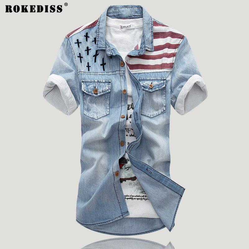 2017 New Summer printing denim short sleeved shirt Slim inch hole font b jeans b font