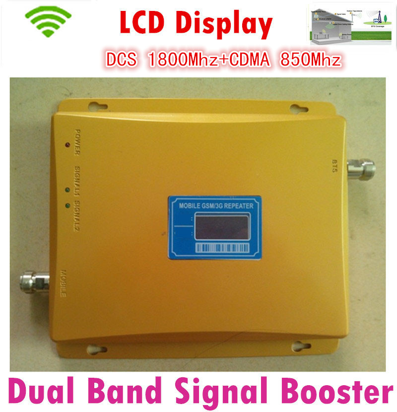 Dual Band 4G CDMA DCS Gain 65dB Signal Amplifier 850Mhz 1800Mhz Cellphone Signal Booster Repeater With Lcd Dislpay