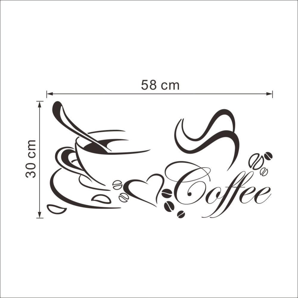 Coffee cup with heart vinyl Restaurant Kitchen wall Stickers DIY removable decals home decor wall art MURAL Drop Shipping in Wall Stickers from Home Garden