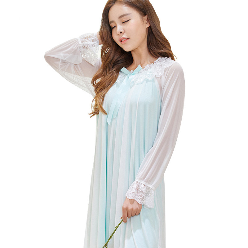 Spring Vintage Long   Nightgowns     Sleepshirts   2018 Lace Home Dress Sexy Nightwear Women Sleepwear Solid Sleep & Lounge Female AD084