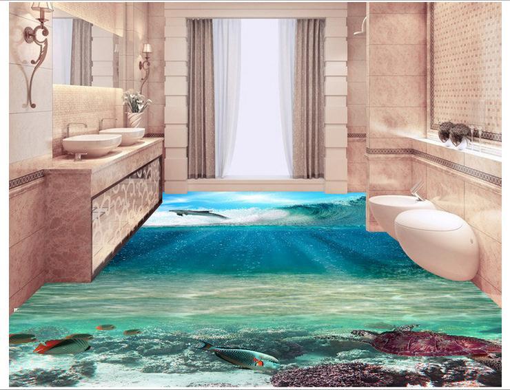 Personnalisé photo fonds d'écran 3d pvc peinture au sol peintures murales 3D océan étage beauté Stickers muraux décoration de la maison - 3