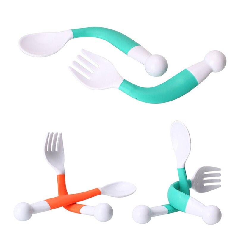1 Löffel + 1 Gabel/set Safe Pp Flexible Baby Löffel Gabel Verstellbaren Griff Kinder Gerichte Lernen Kinder Geschirr