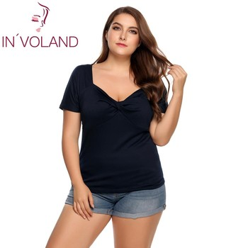 IN'VOLAND Plus Size Women T-Shirt Tops L-4XL Vintage Ruched Front Twist Knot V-Neck Short Sleeve Solid Pullovers Tshirt Big Size twist front plunging t shirt