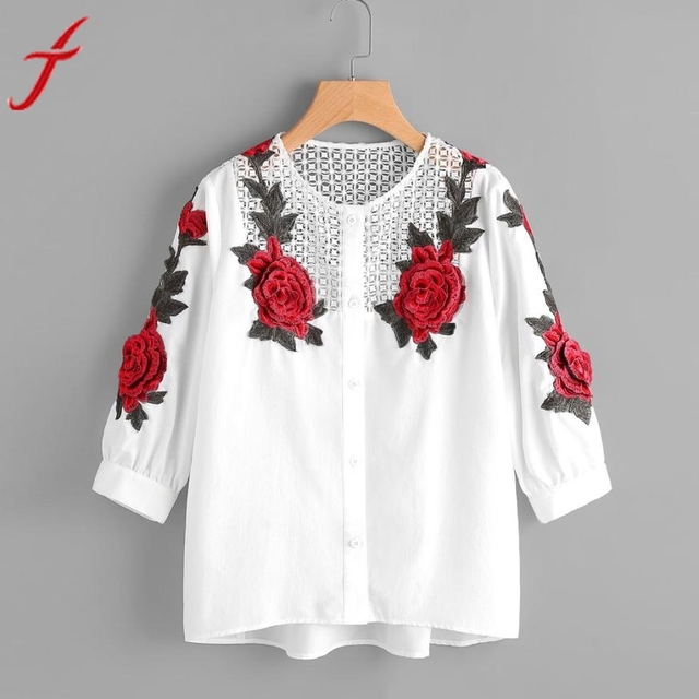 5bbb17d1546f 2019 Embroidered Lace Blouse Women Autumn Hollow Out White Blouse Shirts  Fashion Lady Long Sleeve Rose Floral Blusas Female