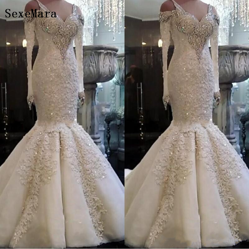 New Arrival Beaded Lace Mermaid Wedding Dresses 2019 Plus Size Custom Made Long Sleeve Wedding Bridal Gowns Size 2-24