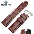 HENGRC Genuine Leather Watchbands Men Thick Watch Band Strap 22mm 24mm Brown Black Wristwatches Belt Accessories For Panerai