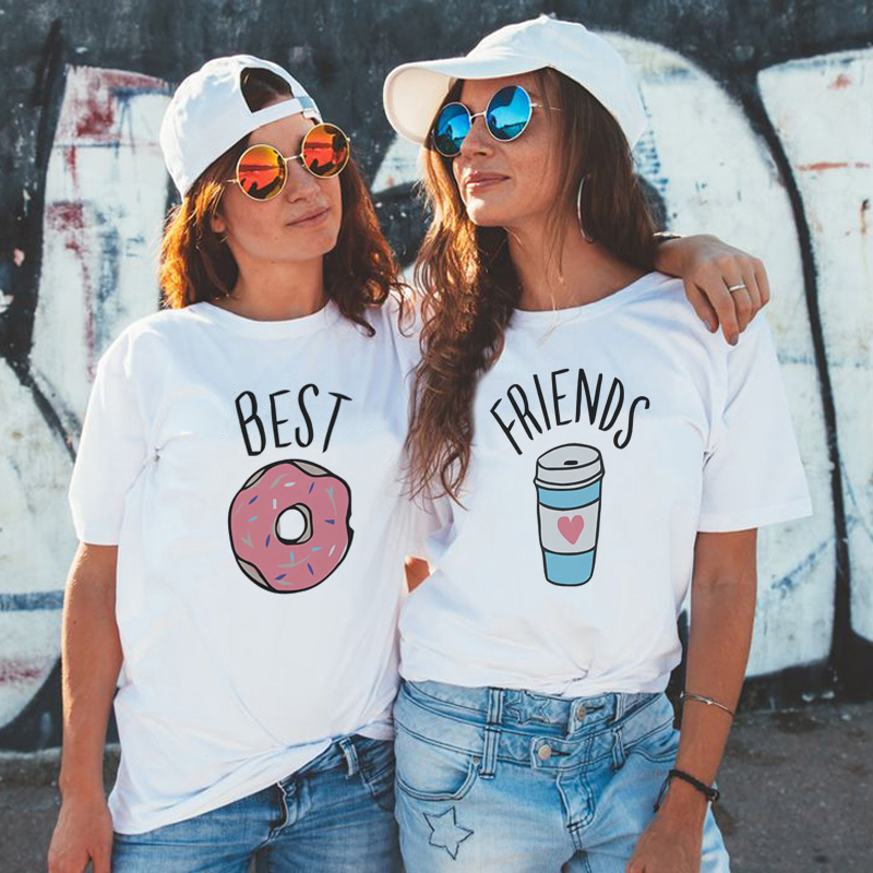 BFF Female T-shirt Best Friends T Shirt Harajuku Kawaii Paired T-shirts White Tshirt New Arrival 2019 Tumblr Tshirt Streetwear