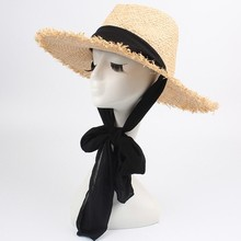 Handmade Weave Raffia Sun Hat Women Black Ribbon Lace Up Large Brim Summer Straw Hat sombrero de mujer Summer Beach Cap H3 summer hat women raffia straw hat with wide lady elegant lace belt beach hat sombrero mujer foldable travel cap for women