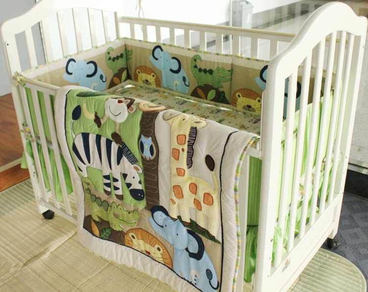 Promotion! 7PCS embroidery Baby Bedding Set 100% Cotton Crib Bedding Set ,include(bumper+duvet+bed cover+bed skirt) promotion 7pcs embroidery cotton baby crib bedding set ropa de cama include bumper duvet bed cover bed skirt