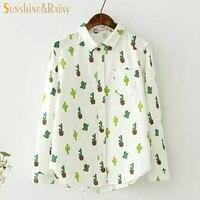 Printemps littéraire frais blouse femme stéréoscopique cactus motif imprimé chemise femmes pur bulle cactus blanc bureau chemises