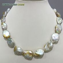 unusual Irregular pearl necklace white few golden color Good gloss 3 size for women 8mm thickness flat oval shape natural pearl