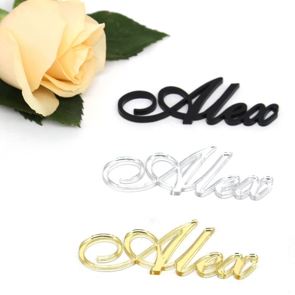1x Personalised Wedding Events Seating Place Names Silver Gold Mirror Acrylic Wooden Laser Cut Names Party Table Centerpieces