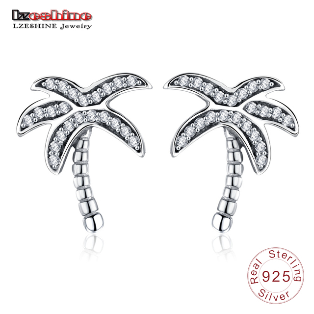Lzeshine New Collection 925 Sterling Silver Sparkling Clear Cz Palm Tree Stud Earrings For Women Authentic