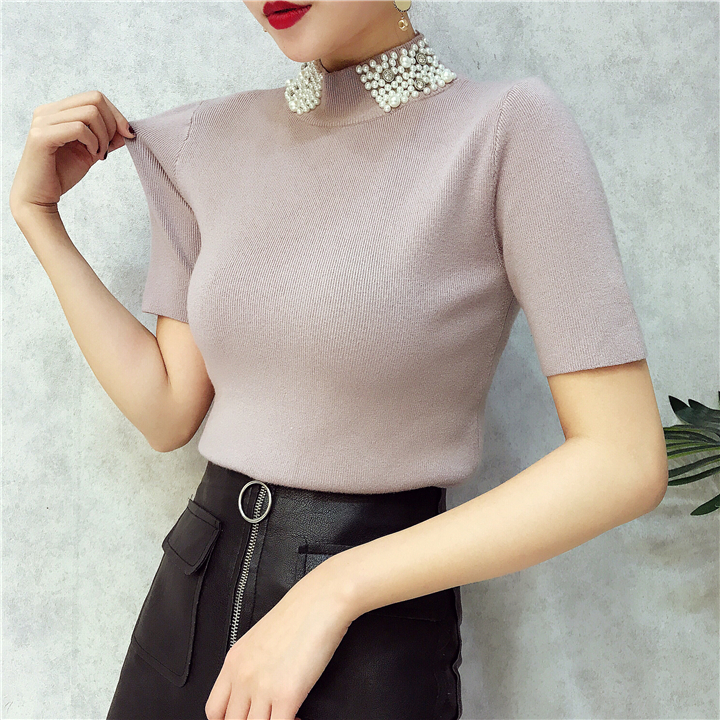 ALPHALMODA 18 Summer Ladies Short-sleeved Pearl Collar Pullovers Casual Slim Knit Sweater Women Studded Fashion Jumpers 29